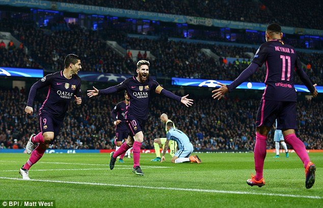 Messi fired Barcelona into the lead midway through the first half at the Etihad Stadium