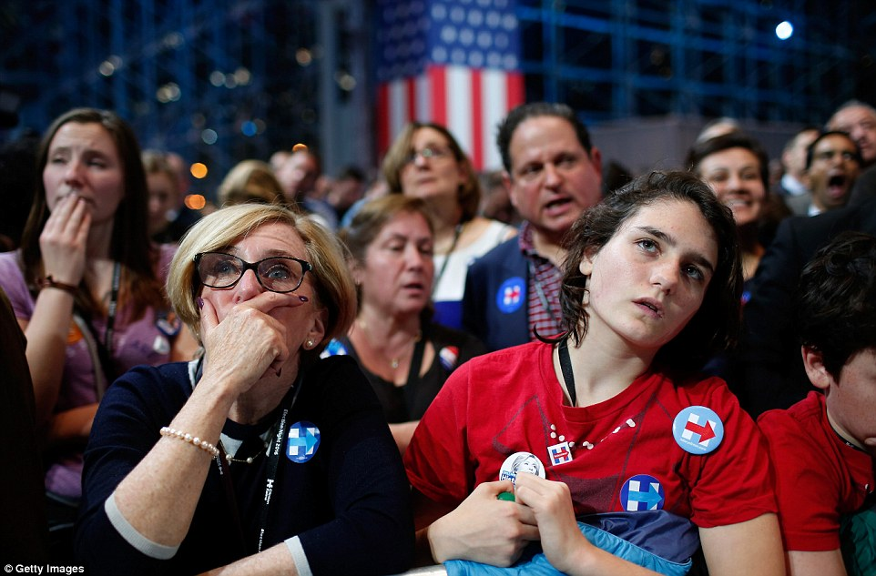 Night terrors: As the night wore on, and the possibility of a Trump win became more real, the fear of Clinton fans became more pronounced