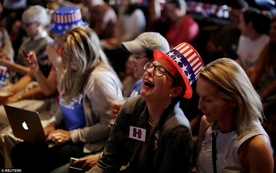 In tears: Even Clinton supporters in the University of Sydney, Australia, were struck hard by her struggle