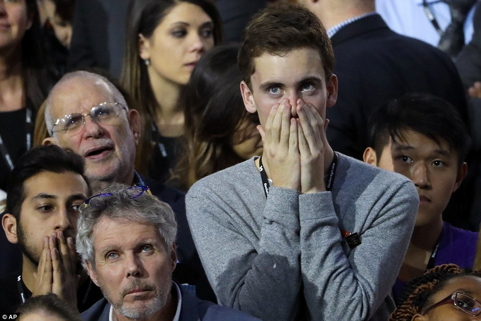 Horror: Looks of horror swept over the crowd as Clinton slipped away from success