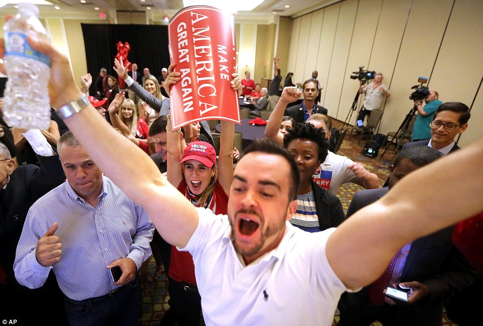 Nationwide support: Florida supporters cheer as Trump's success in Florida is predicted by news media - a prediction that ultimately proved absolutely spot-on
