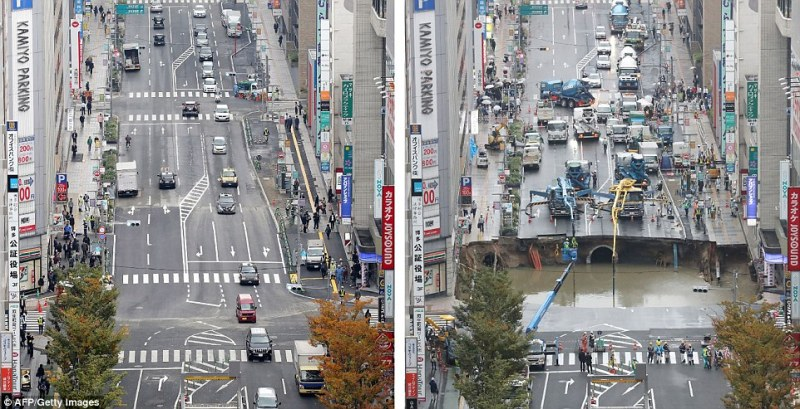 What a difference a week makes: The five-land stretch of road today (left) and in the aftermath of the collapse