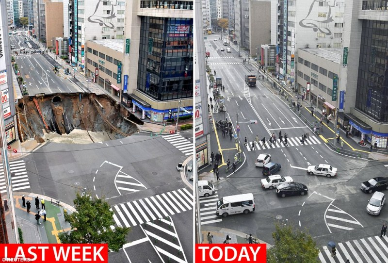 The busy road pictured last week (left) and today (right) after crews worked around the clock to ensure it opened again seven days after collapsing