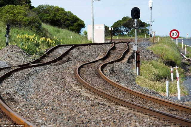 Pictures show the damage to the Main North Railway line from the earthquake at Kaikoura.  Rescue efforts after a devastating earthquake in New Zealand intensified last night