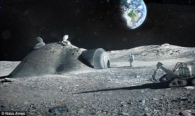 Russian hopes to build a moon colony of 12 cosmonauts on the lunar surface. NASA scientists say it may be possible to build a permanent base (illustrated) housing 10 people within the next five to seven years for around $10 billion