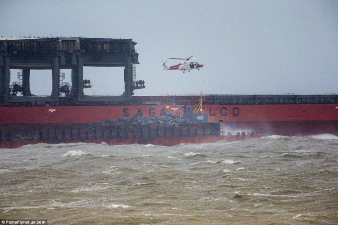 TheHong Kong Saga Sky cargo ship got into difficulty off the coast of Dover following a collision with a barge - and some 23 crew members were trapped on board