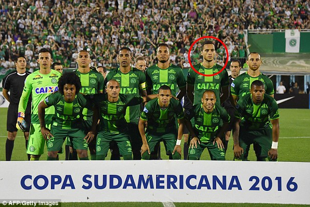 The defender Neto (circled) was among just six who survived. Pictured from back left - Danilo,Mateus Caramelo, Cleber Santana,Willian Thiego, Neto and Josimar. From front left - Kempes,Ananias, Tiaguinho, Gil, Dener