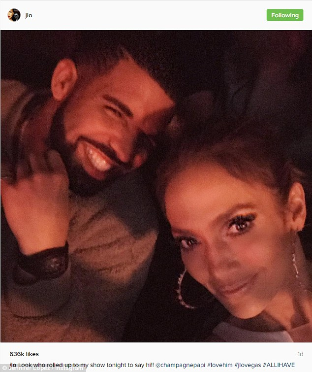 Special guest: Drake took in Jennifer Lopez's All I Have show in Las Vegas on Saturday