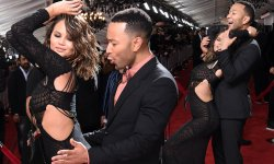 Outstanding Chrissy Teigen Stuns A Racy Red Carpet Appearance At Grammys Chrissy Teigen Dances Against John Legend At Grammys Edgy Cutout As She Grinds Against Her Smilinghusband John Legend