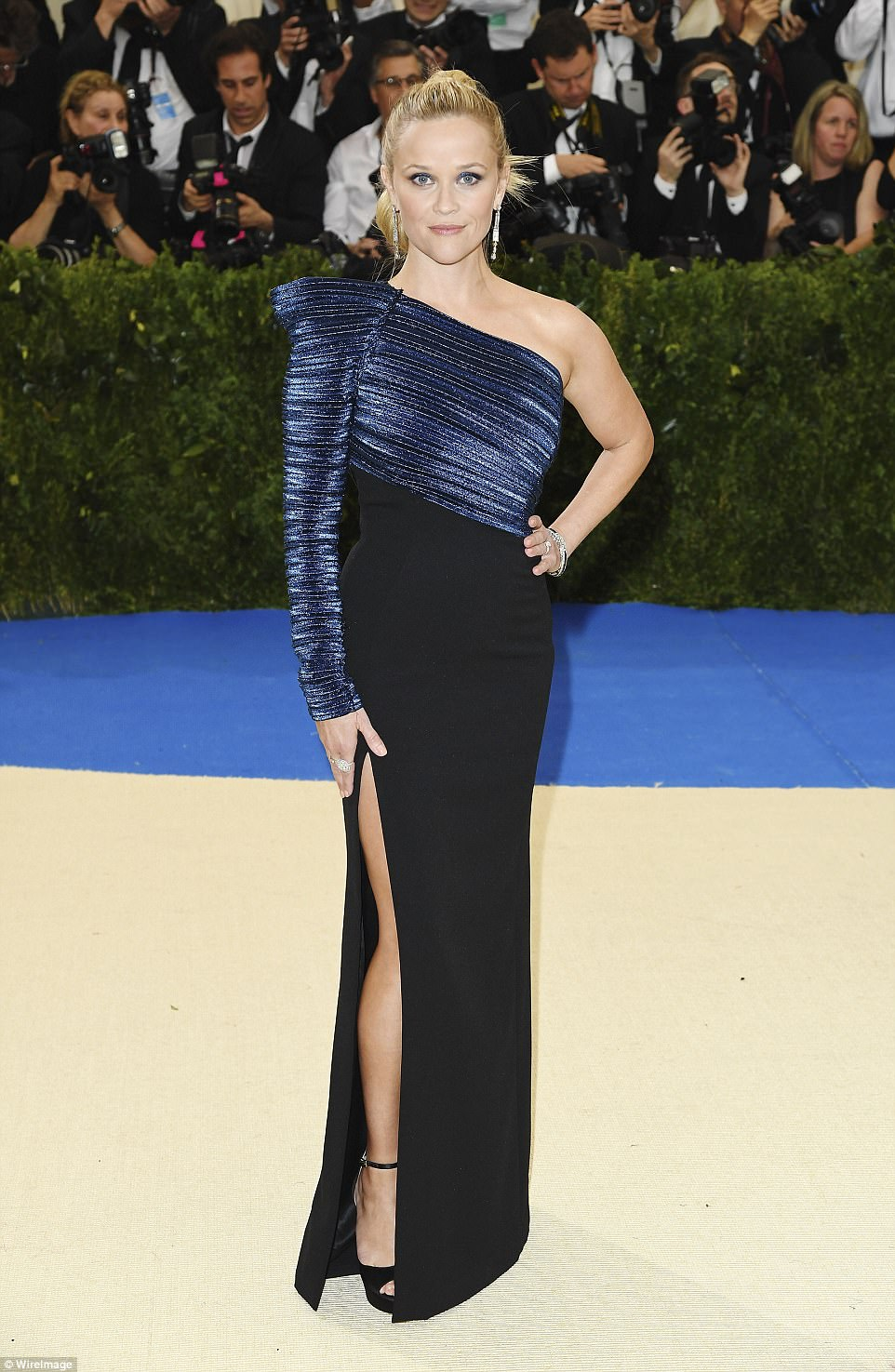 Met Gala 2017  Reese Witherspoon wears navy and black gown   Daily     Classically stylish  Reese Witherspoon was classically stylish as she  arrived for Monday night s Met Gala