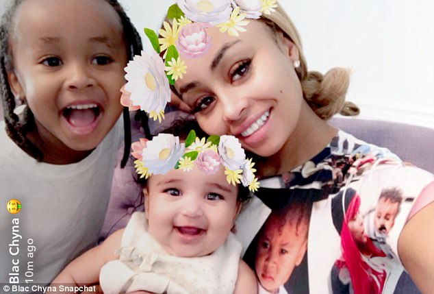 Proud mama: Her son King Cairo (L), four, is from her relationship with rapper Tyga joined the girls for Mothers Day