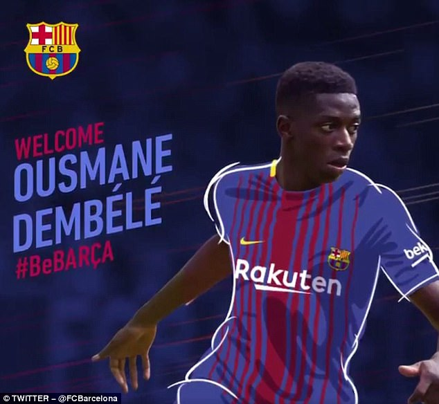 barcelona posted a graphic showing how ousmane dembele will look wearing their shirt