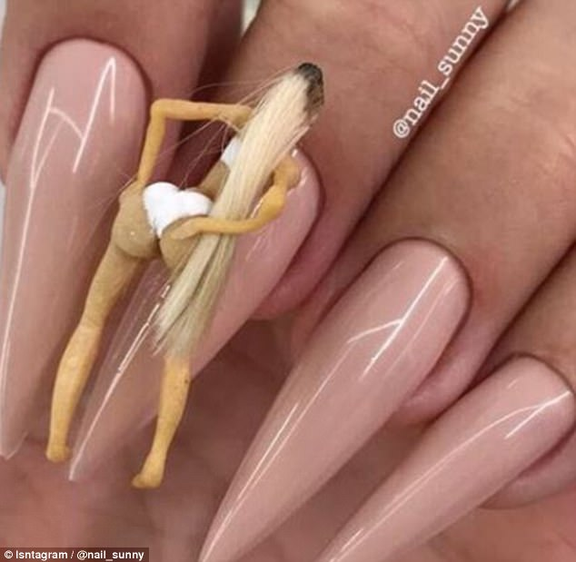 You can now get a twerking Kim Kardashian on your NAILS   Daily Mail     Final product  The manicure was so detailed and the big butt on the doll  moves