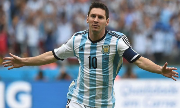 Argentina's forward and captain Lionel Messi celebrates after scoring during the Group F football match between Nigeria and Argentina at the Beira-Rio Stadium in Porto Alegre on June 25, 2014,during the 2014 FIFA World Cup. — AFP/File