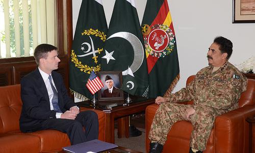 US envoy David Hale meets Gen Raheel Sharif at GHQ. ─ ISPR