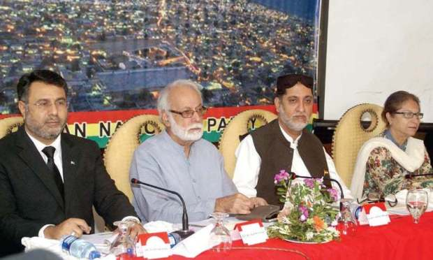BNP chief Akhtar Mengal, Asma Jahangir and SCBA Secretary Asad Manzoor participate in the seminar on Tuesday. — INP