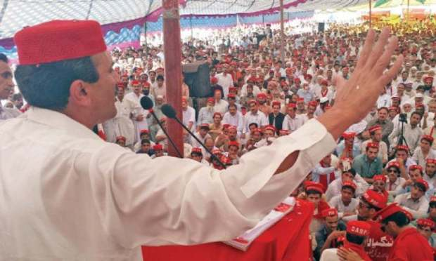 ANP leader Ameer Haider Hoti addresses a party convention in Buner on Thursday. — Dawn