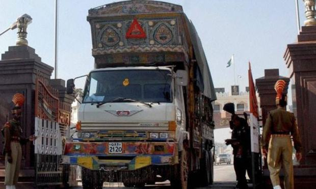 A truck enters Indian territory at the Wagha border crossing in this file photo.—White Star