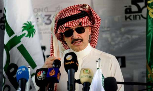 This file photo taken on May 11, 2017 shows Saudi Prince Alwaleed bin Talal speaking during a press conference in Jeddah. ─ AFP