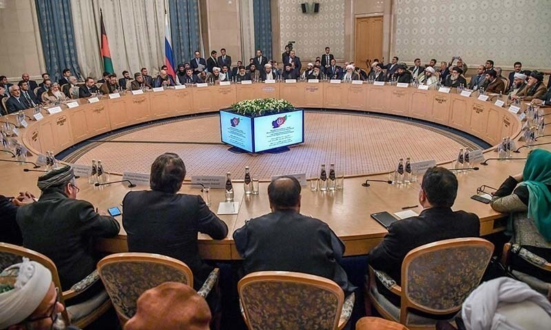 In this file photo participants attend the opening of the two-day talks of the Taliban and Afghan opposition representatives at the President Hotel in Moscow on February 5. — AFP