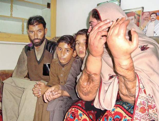 Militancy-hit Farman along with his family. — Dawn