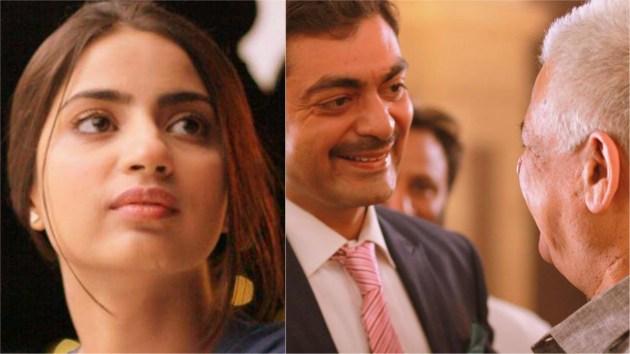 Pictured (L-R): Saboor Ali, Alyy Khan and Om Puri behind the scenes