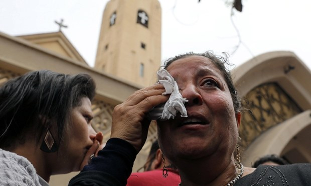 A relative of one of the victims reacts after a church explosion killed at least 27 in Tanta, Egypt, April 9 ─ Reauters