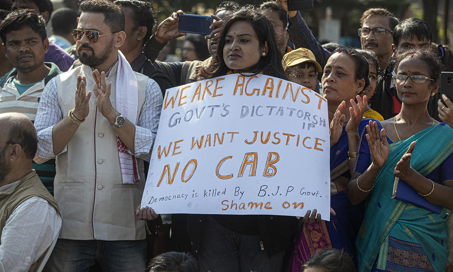 Indians participate in a protest rally against the Citizenship Amendment Bill in Gauhati, India, Friday. — AP