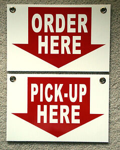 Order Here Sign   eBay ORDER HERE   PICK UP HERE Plastic Coroplast SIGNS 8X12 w Grommets Restaurant