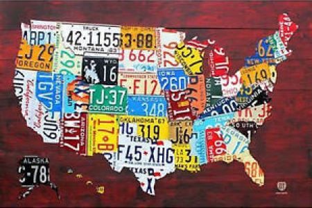 license plate map of the us poster 24x36 united states usa