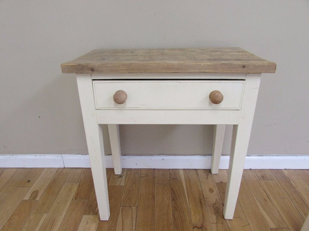 kitchen side table SOLID WOOD TOPPED KITCHEN BEDROOM SMALL SIDE TABLE WITH DRAW