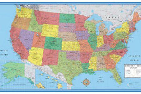 48x78 united states usa us clic elite large wall map