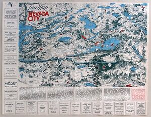 1940 s NEVADA CITY  CALIFORNIA Fun Map   eBay Image is loading 1940 039 s NEVADA CITY CALIFORNIA Fun Map