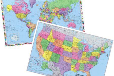 2017 united states & world wall map poster 2 rolled
