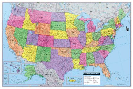 "2016 usa united states wall map poster 36""x24"" multi color"