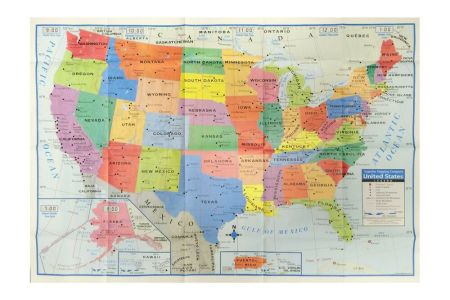 """united states us wall map 40"""" x 28"""" usa large poster"""
