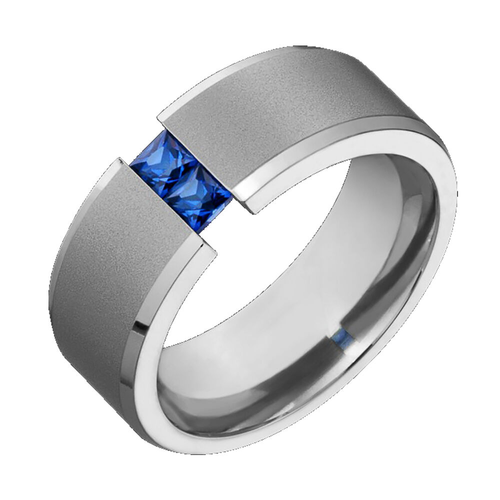 sapphire wedding bands Mens Titanium Wedding Band Blue Sapphire Tension Set Comfort Fit Ring Sz 4 to 14