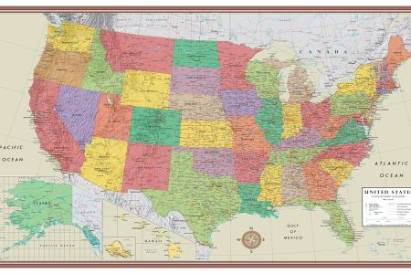 united states, usa, us contemporary elite wall map large