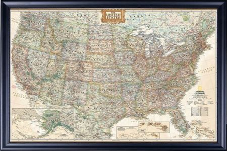 map of the united states of america (usa map) framed