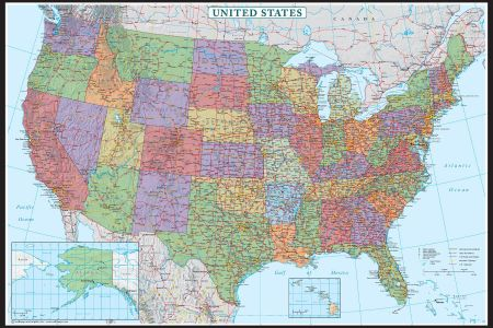 united states us usa wall map poster decorator edition by