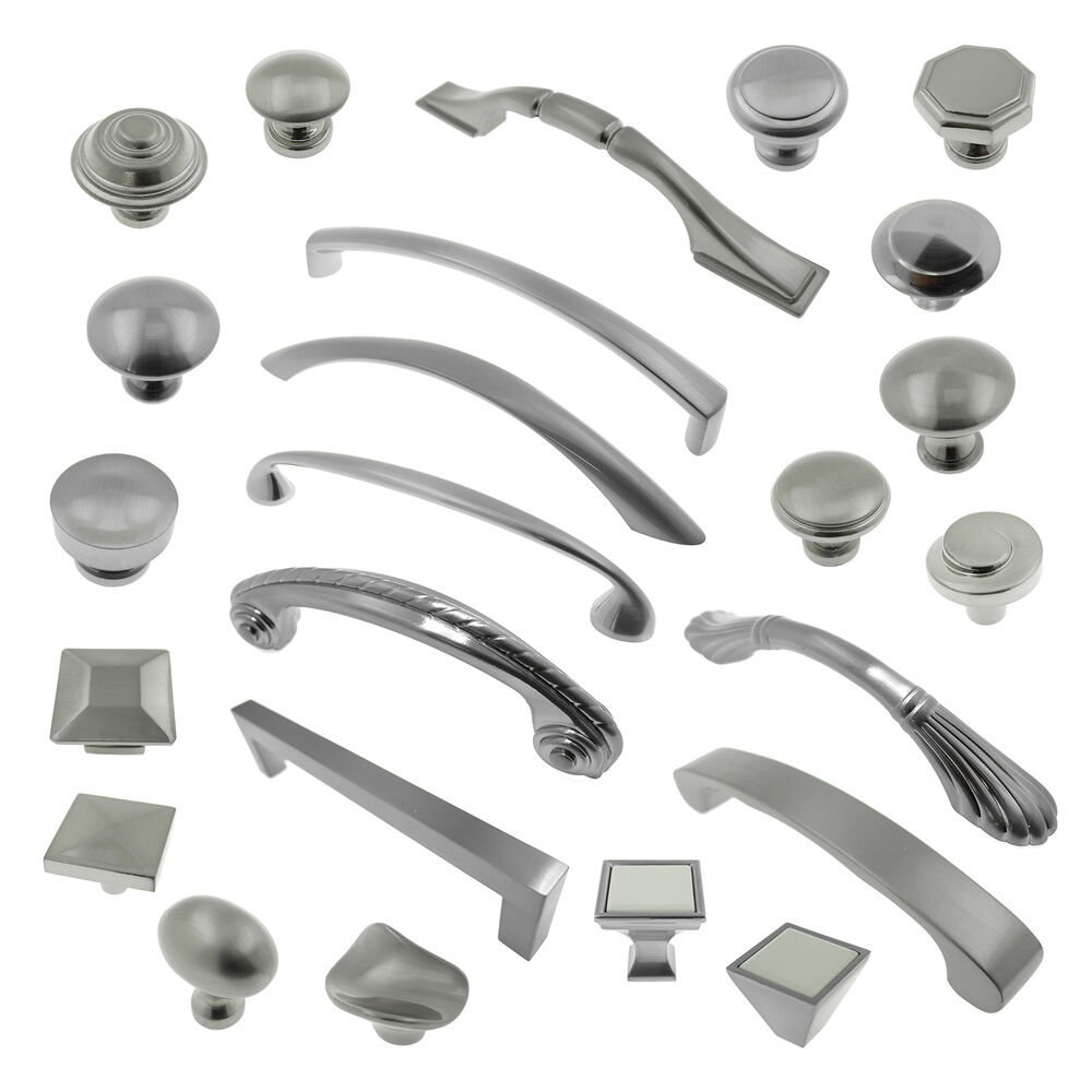 kitchen cabinet hardware hinges Brushed Satin Nickel Knobs Pulls Kitchen Cabinet Handles Hardware Closet Vanity eBay