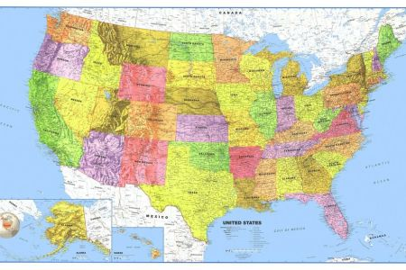 24x36 united states, usa, us premier paper folded wall map