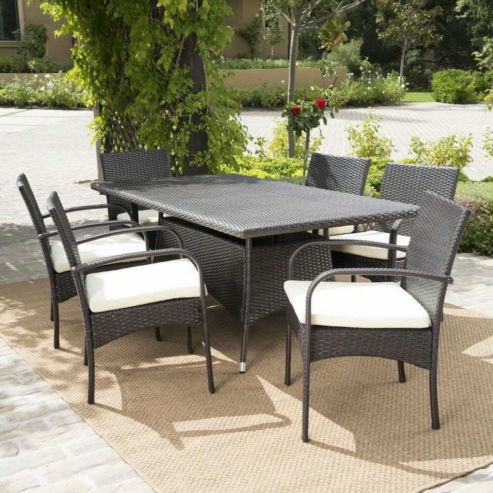 outdoor wicker dining furniture wicker kitchen chairs 7 Piece Outdoor Patio Furniture Multibrown Wicker Long Dining Set w Cushions