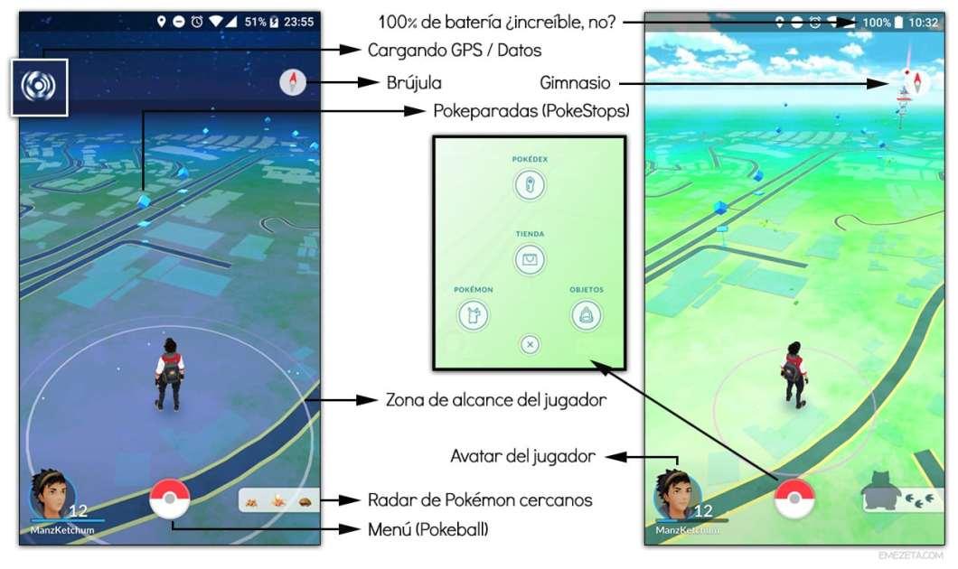 Interfaz primordial de Pokémon Go
