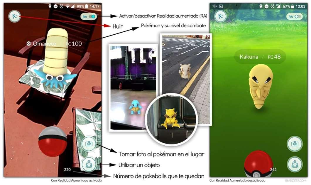 Realidad aumentada (RA) en Pokémon Go