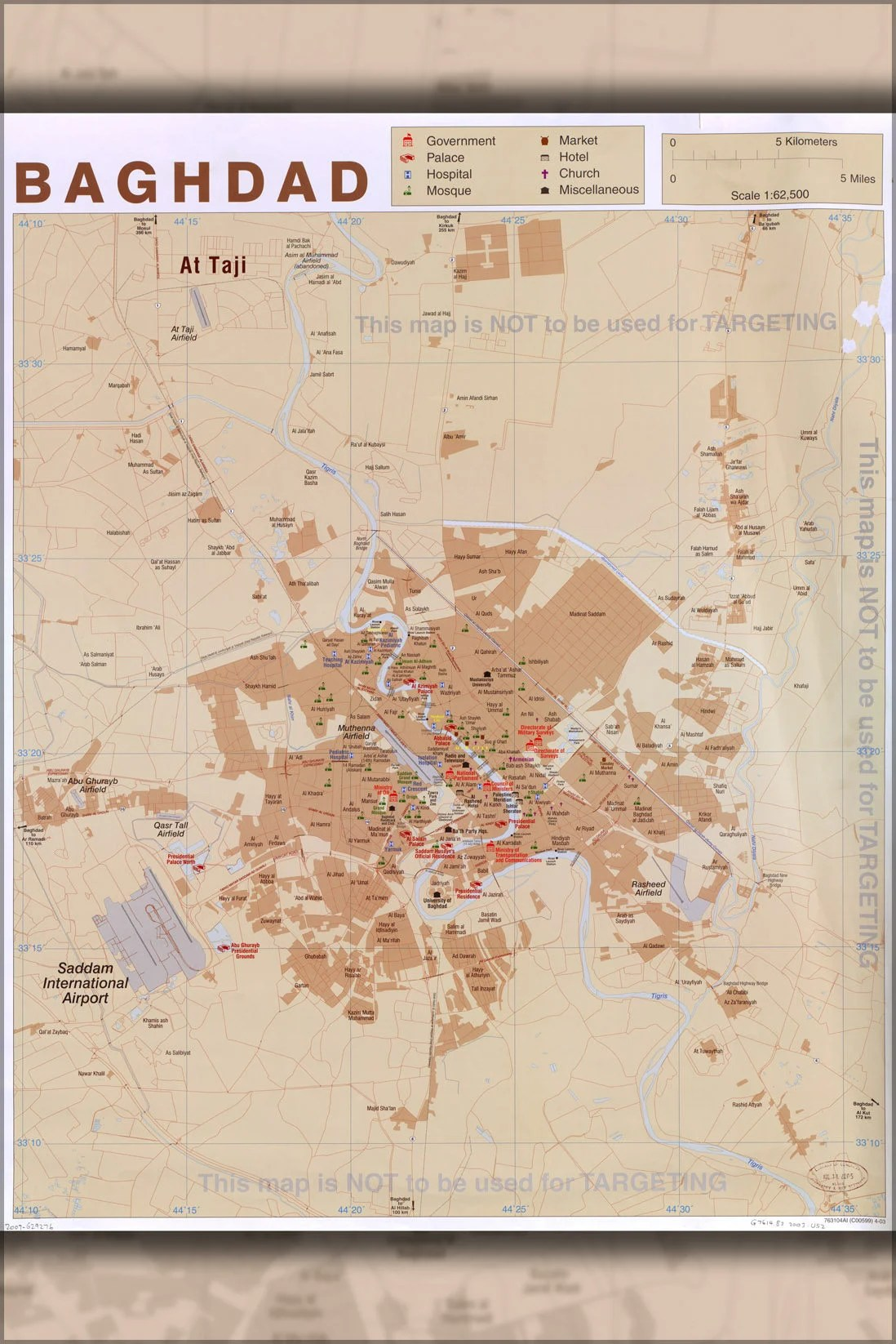Baghdad map   Etsy Poster  Many Sizes Available  Cia Map Of Baghdad Iraq 2003