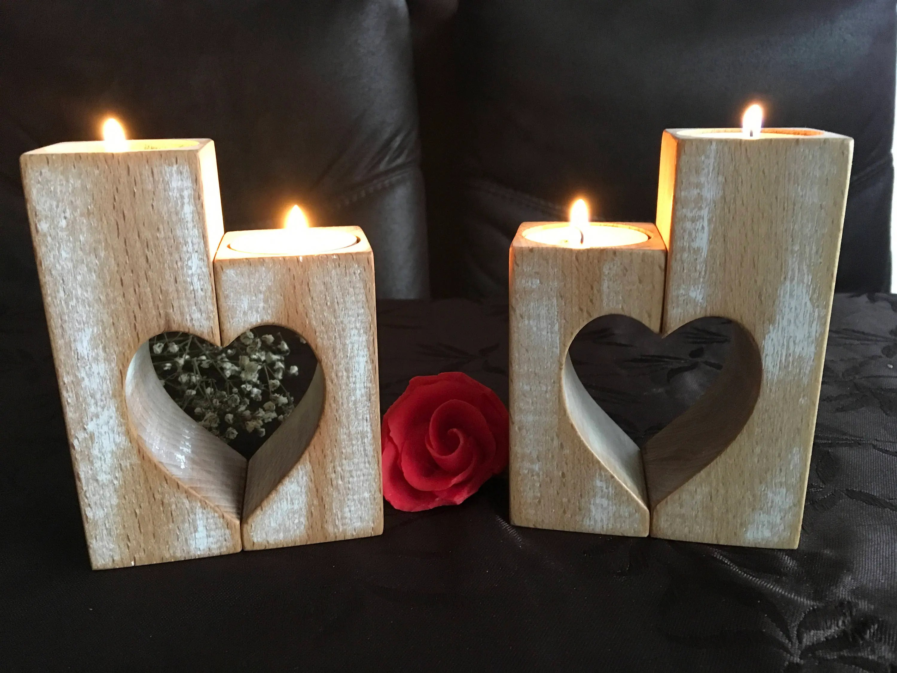 Genial Wood Candlestick Hers Rustic Wooden Candle Hers Set Wood Candlestick Hers Rustic Heartsmors Day Gift Wedding Gift Home Decorations Ight Candle Her Wooden Candle Hers Set houzz 01 Wood Candle Holders