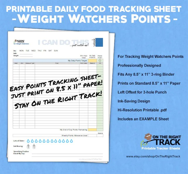 food tracking chart weight watchers foodstutorial org