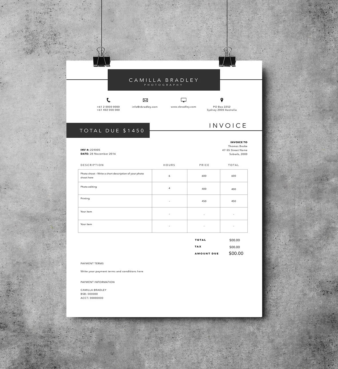 Photography Invoice template Invoice design Receipt   Etsy