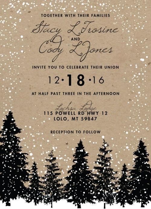 Charming Rustic Winter Wedding Snow Wedding Med Invites Rustic Winter Wedding Snow Wedding Woodsy Winter Wedding Invitations Etsy Winter Wedding Invitations Sayings